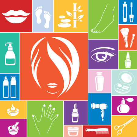 Beauty and makeup icons, vector set of 22 cosmetic signs. Vector