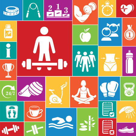 fitness equipment: Fitness icons set, vector set of 32 fitness signs. Illustration