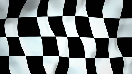Black and White Deformed Checker Texture - Finish Flag - 3D Rendering Stockfoto