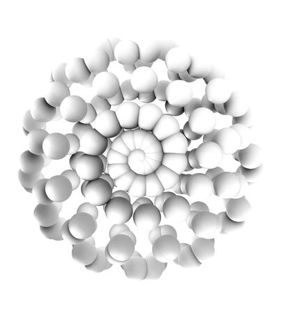 White Spheres Forming in Spiral Spherical Shape Generated by Roseflow algorithm - 3D Illustration
