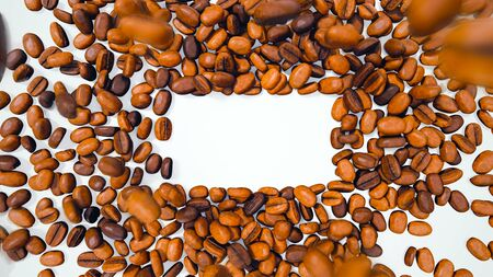 Coffee Beans with Motion Blur Falling Down, Forming Rectangular Space for Text or Logo - 3D Illustration