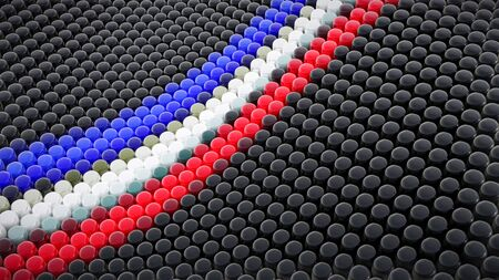 Tricolour Abstract Array made of Round Knobs - 3D Illustration