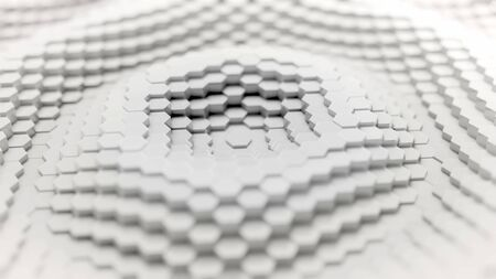 White Hexagonal Grid with Central Wave Displacement - 3D Illustration