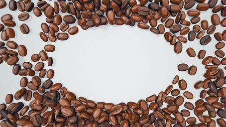 Coffee Beans Forming Elliptical Space For Logo Or Sign - 3D Illustration