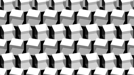 Grayscale rotated cubes - 3D Illustration