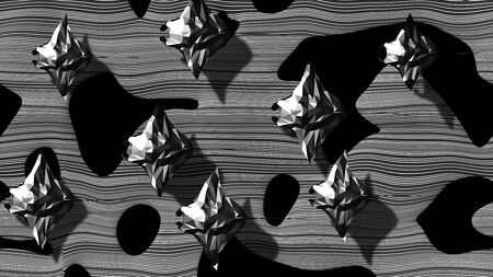 Stylized Grayscale Manta Rays Flock from Above - 3D Illustration