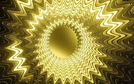 Golden Glossy Multi-Layered Abstract Pendant - 3D Rendering Banco de Imagens