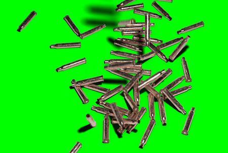 Shell Casings Falling Down on Green Screen easy to key out - 3D Illustration