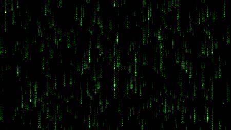 Green Matrix Code rain illustration