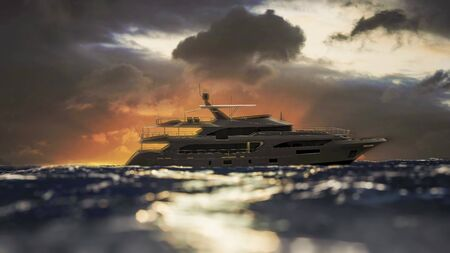 Luxury Yacht Crosses horizon during Sunset - 3D Illustration Imagens