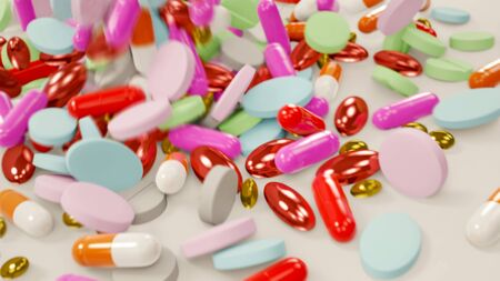 Various Colored Pills Falling Down Onto White Surface - 3D Illustration