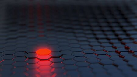 Black Hexagonal Array with One Red Glowing element - 3D Illustration Stockfoto
