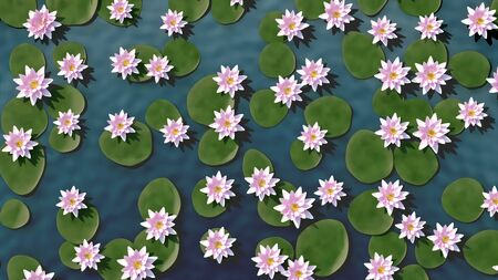 Water Surface with Multiple Lotus Flowers - 3D Illustration Imagens