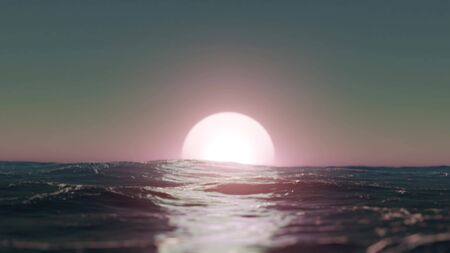 Handheld Camera Sunset over the Sea - 3D Illustration Imagens