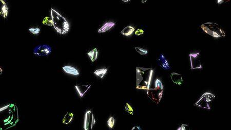 Various Colorful Gemstones 3D Rendering