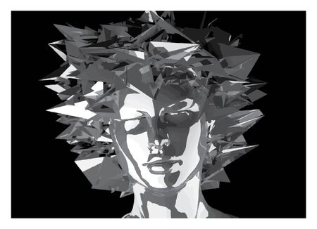 Abstract Female Metallic Head with Closed Eyes