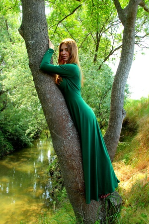 a beautiful girl stands on a tree photo
