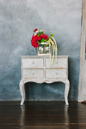 highboy: White vintage chest of drawers