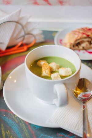 croutons: broccoli cream soup with croutons Stock Photo