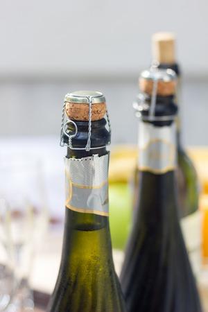 bottleneck: Bottleneck Champagne thee objects Stock Photo