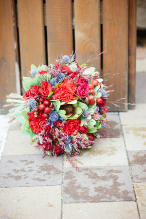 Wedding bouquete on floor.