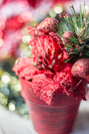 Artifical poinsettia - christmas symbol in red flower pot.