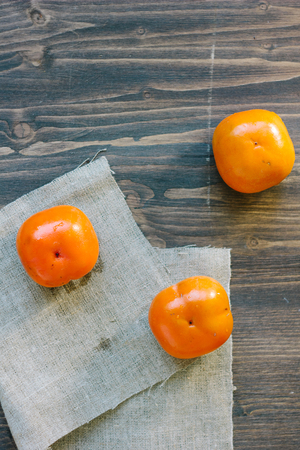 Top view of persimmons. Stock Photo