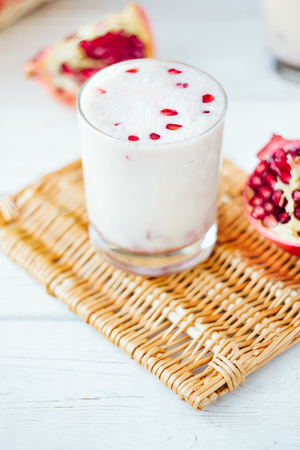 Indian dessert - lassi with pomegranate