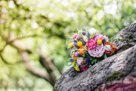 Wedding bouquet on wood Stock Photo
