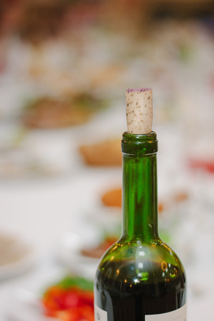 Bottle neck of red wine closed by cork