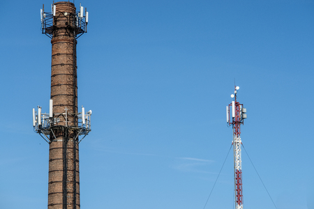 Old brick chimney turn into cellular tower