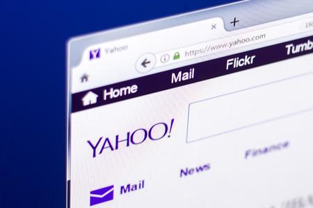 Ryazan, Russia - March 01, 2018 - Homepage of Yahoo.com on the display of PC.