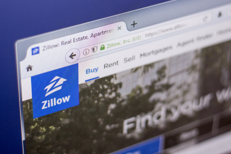 Ryazan, Russia - March 01, 2018 - Homepage of Zillow - real estate service, on a display of PC, web adress - zillow.com.