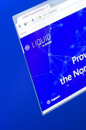 Ryazan, Russia - March 29, 2018 - Homepage of Liquid cryptocurrency on the PC display, web address - liquid.plus