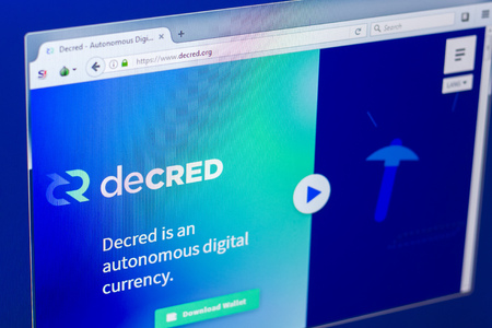 Ryazan, Russia - March 29, 2018 - Homepage of Decred crypto currency on the PC display, web address - decred.org