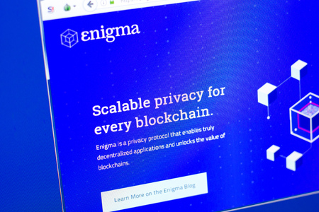 Ryazan, Russia - March 29, 2018 - Homepage of Enigma crypto currency on the display of PC, web - enigma.co.