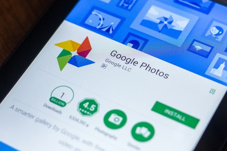 Ryazan, Russia - March 21, 2018 - Google Photos mobile app on a display of mobile PC
