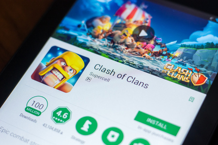 Ryazan, Russia - March 21, 2018 - Clash of Clans mobile app on the display of tablet PC