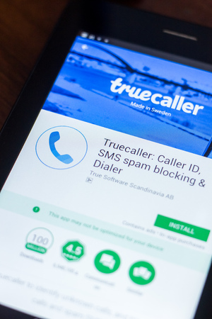Ryazan, Russia - March 21, 2018 - Truecaller mobile app on the display of tablet PC Sajtókép