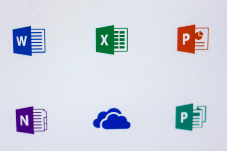 Ryazan, Russia - April 16, 2018 - Logos of Microsoft programms on the display of PC Editorial