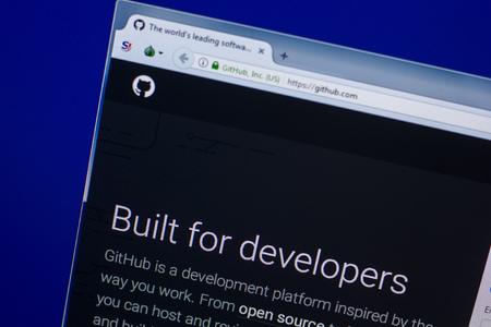 Ryazan, Russia - April 16, 2018 - Homepage of GitHub website on the display of PC, url - github.com Editorial