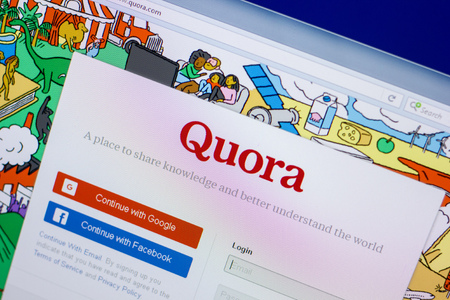 Ryazan, Russia - April 16, 2018 - Homepage of Quora website on the display of PC, url - quora.com