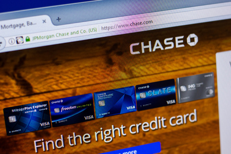Ryazan, Russia - April 16, 2018 - Homepage of JPMorgan Chase and Co. on the display of PC, url - chase.com.