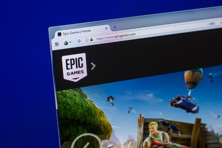 Ryazan, Russia - April 16, 2018 - Homepage of EpicGames website on the display of PC, url - epicgames.com