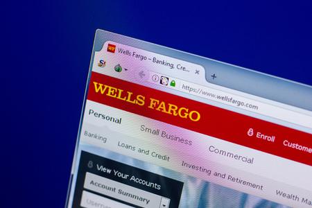 Ryazan, Russia - April 16, 2018 - Homepage of Wells Fargo website on the display of PC, url - wellsfargo.com