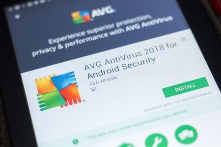 Ryazan, Russia - April 19, 2018 - AVG Antivirus 2018 mobile app on the display of tablet PC 免版税图像 - 107889031