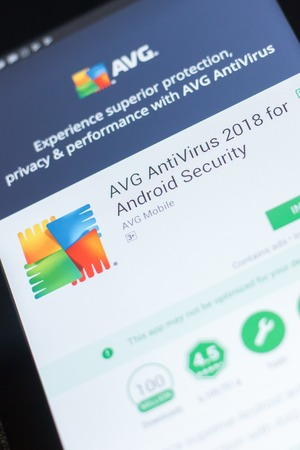 Ryazan, Russia - April 19, 2018 - AVG Antivirus 2018 mobile app on the display of tablet PC