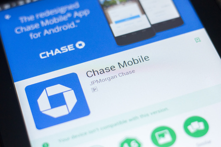 Ryazan, Russia - April 19, 2018 - Chase Mobile app on the display of tablet PC Publikacyjne