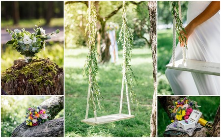 Wedding collage - beautiful ranch wedding on garden outdoors at spring or summer day Stock Photo