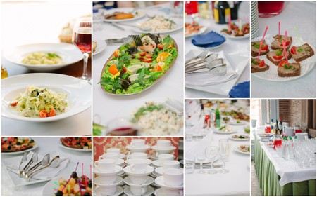 Wedding catering collage - food and crockery for rehearsal dinner